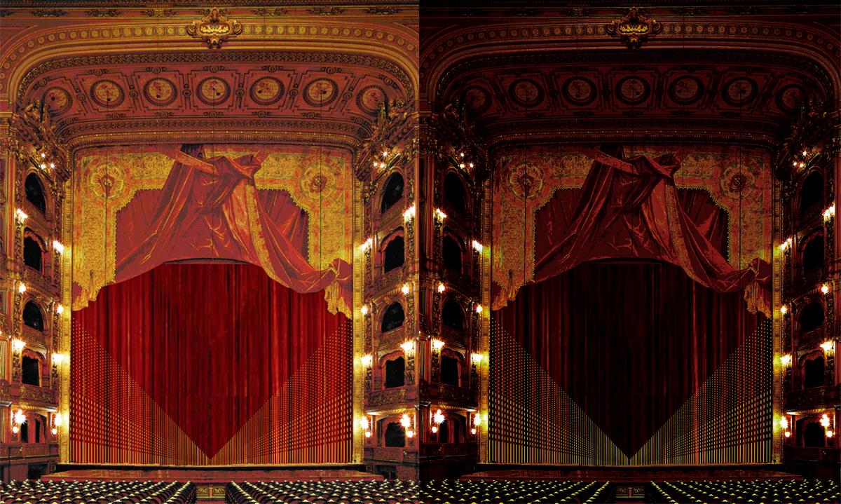 Decorazione del sipario del Teatro Colòn, Concorso progetto finalista / New curtain design Theatre Colòn, special mention in the final stage competition, Buenos Aires, 2009, con Silvia Bortolini