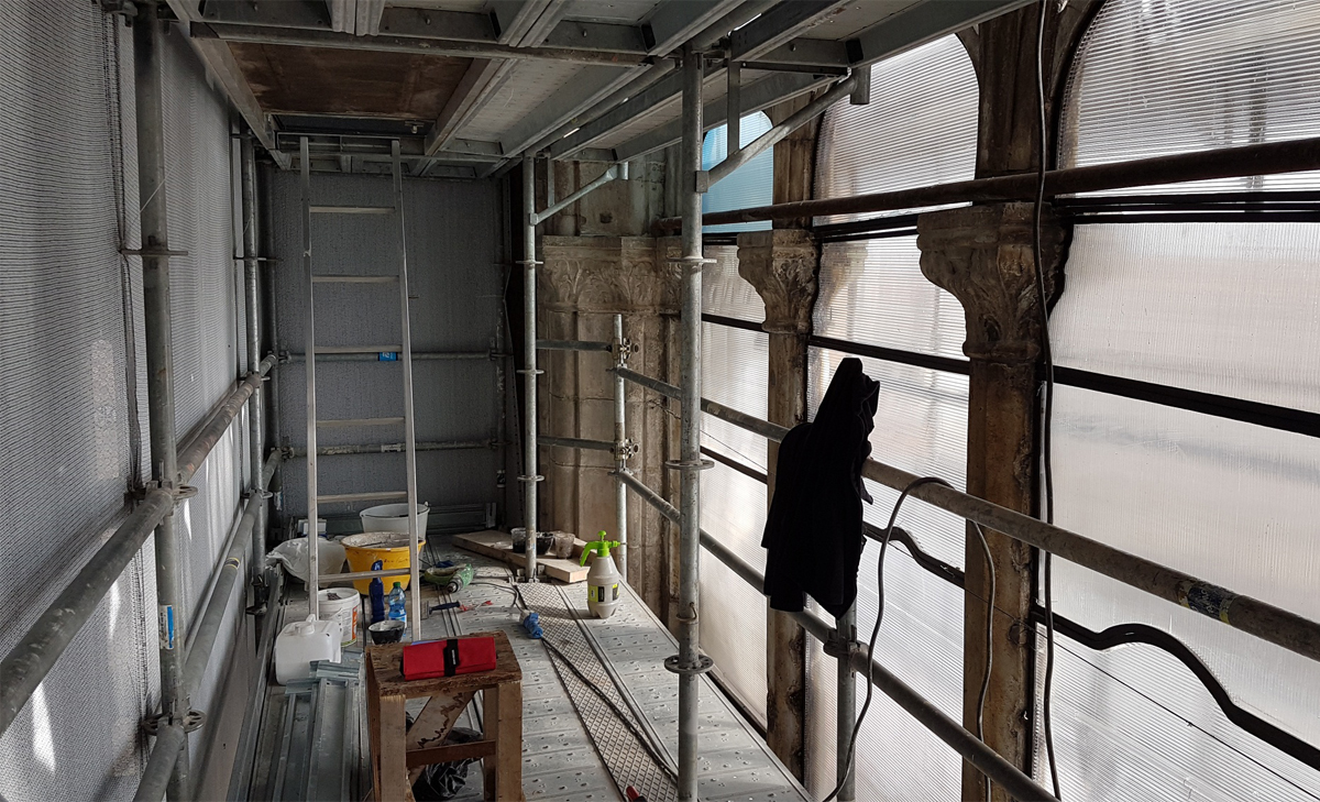 CSE – Ministero Beni Culturali Soprintendenza di Venezia, Ministry of Cultural Heritage  and Venice Superintendency, vetrata Vivarini, large glazed area by Vivarini, Venezia 2019-2020