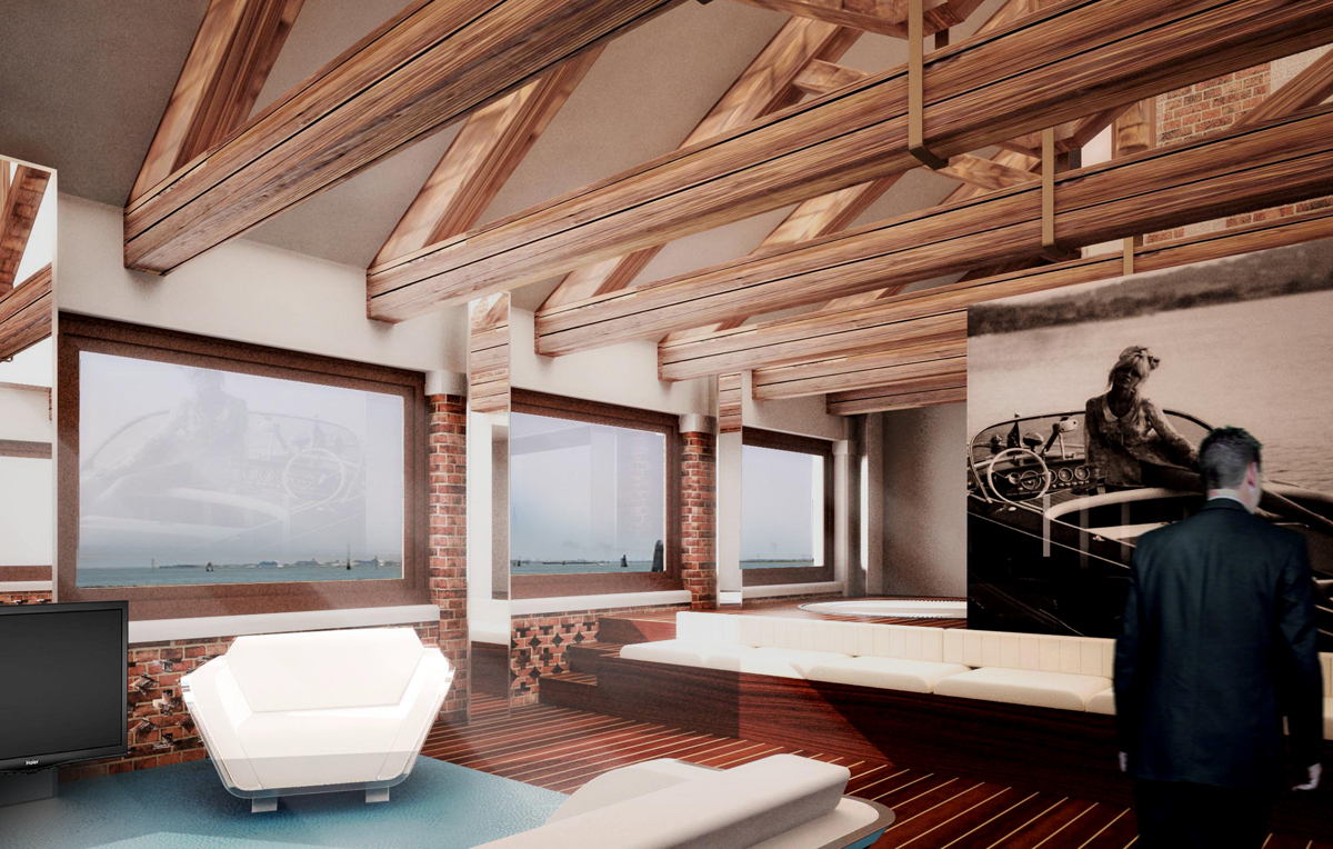 Riva Suite project on the San Clemente island Hotel, Riva Yacht, Venezia, 2015
