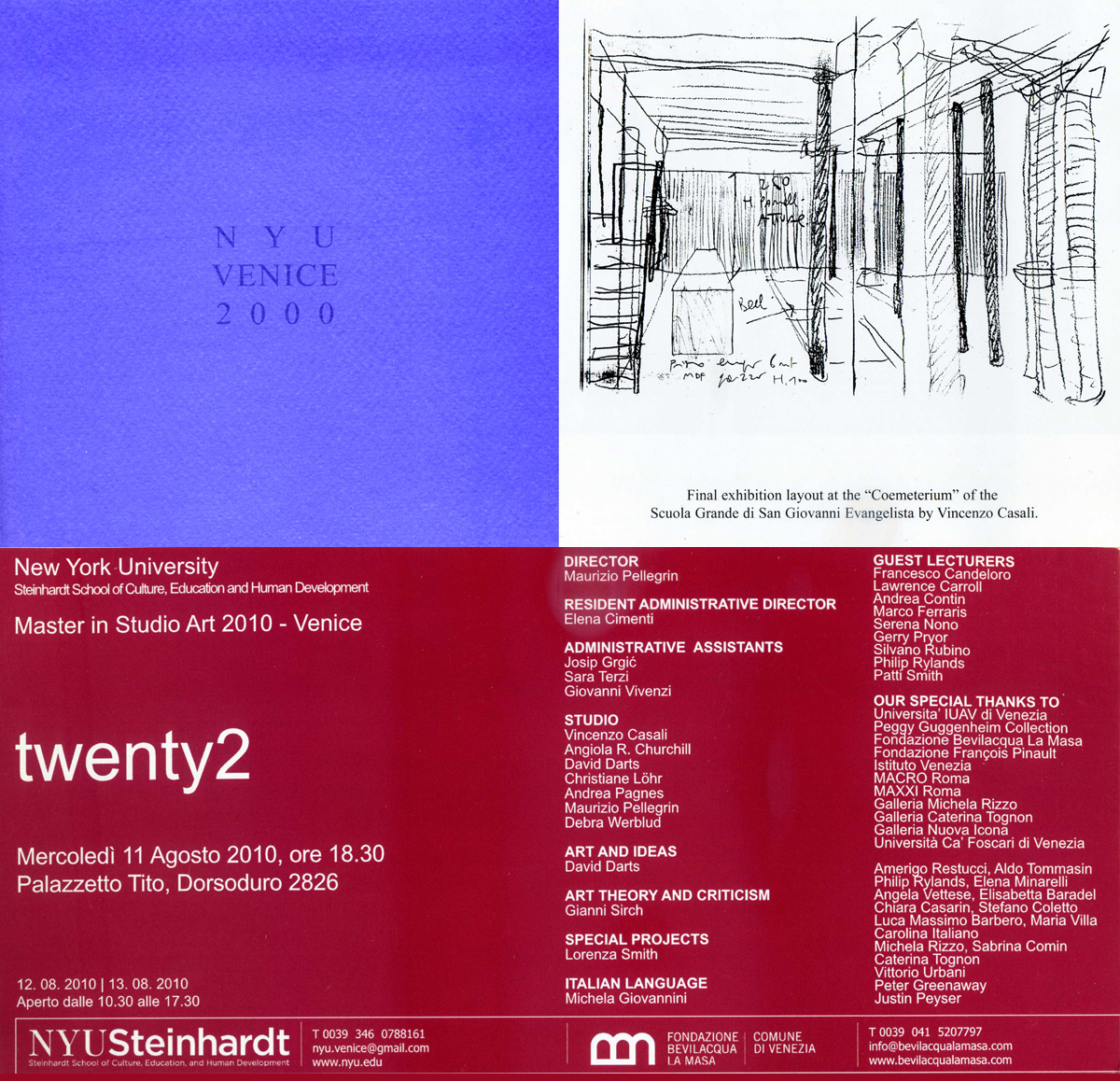 Teacher in the Studio, NYU Steinhardt, Master in Studio Art, New York University in Venice, 2001/2011